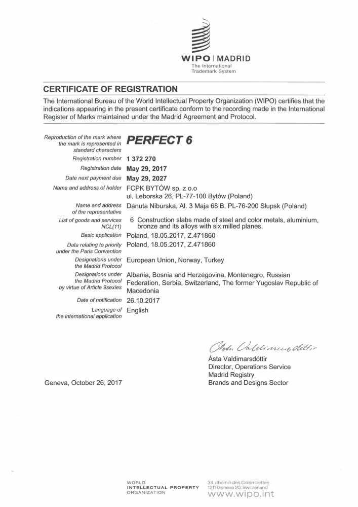 PERFECT 6 - ZASTRZEŻONY ZNAK TOWAROWY-1